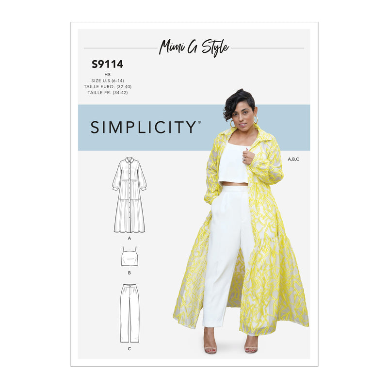 Simplicity Sewing Pattern S9114  Dress, Top and Pants from Jaycotts Sewing Supplies