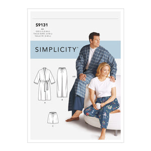 Simplicity Sewing Pattern S9131 Unisex Sleepwear from Jaycotts Sewing Supplies