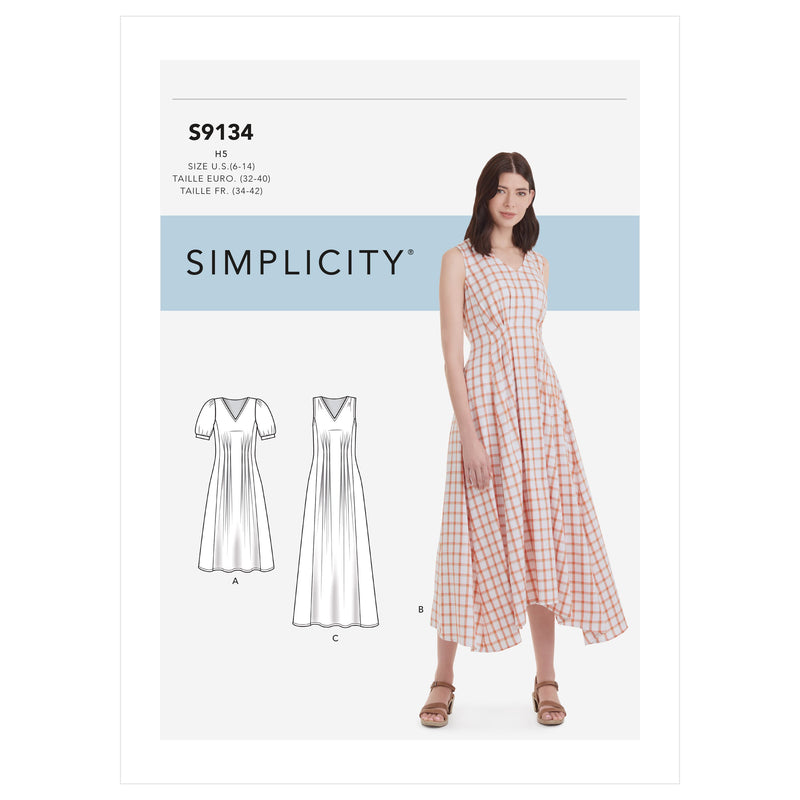 Simplicity Sewing Pattern S9134  Released Pleat Dress from Jaycotts Sewing Supplies