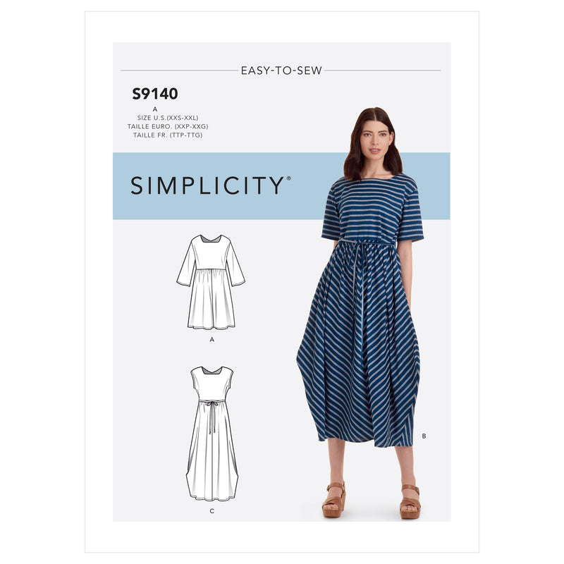 Simplicity Sewing Pattern 9140 Relaxed Pullover Dress from Jaycotts Sewing Supplies