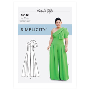 Simplicity Sewing Pattern 9142 Jumpsuit With One Shoulder Drape from Jaycotts Sewing Supplies