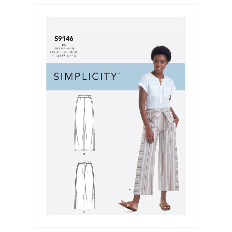 Simplicity 9146 Misses' relaxed trousers pattern from Jaycotts Sewing Supplies