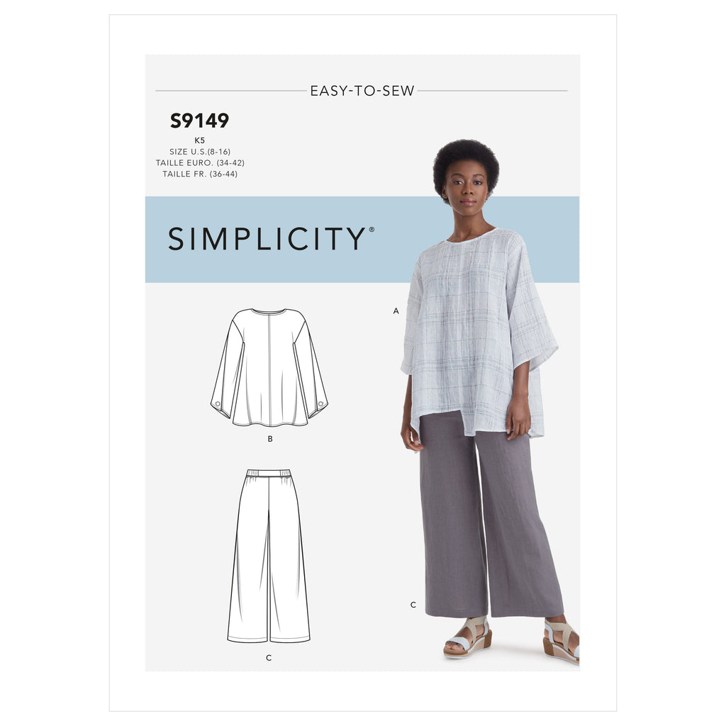 Simplicity Sewing Pattern 9149 Tops and Pants