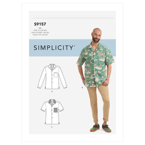 Simplicity 9157 Men's Open Pointed Collar Shirts pattern