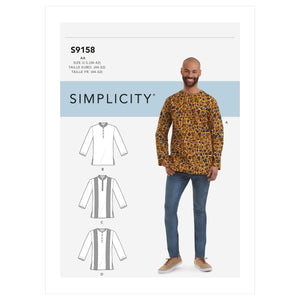 Simplicity 9158 Men's Half Buttoned Shirts Pattern from Jaycotts Sewing Supplies