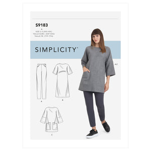 Simplicity Sewing Pattern 9183 Tunic, Top, Dress & Leggings from Jaycotts Sewing Supplies
