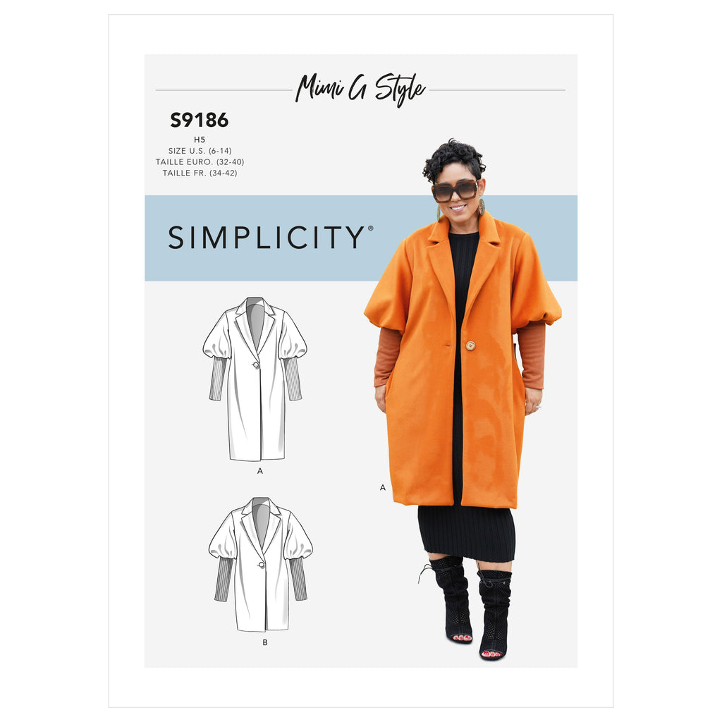 Simplicity Sewing Pattern 9186 Coat and Jacket from Jaycotts Sewing Supplies