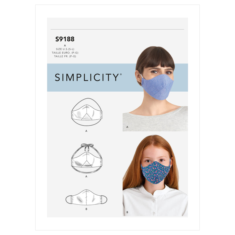 Simplicity 9188 Face Covers / Face Masks Pattern from Jaycotts Sewing Supplies