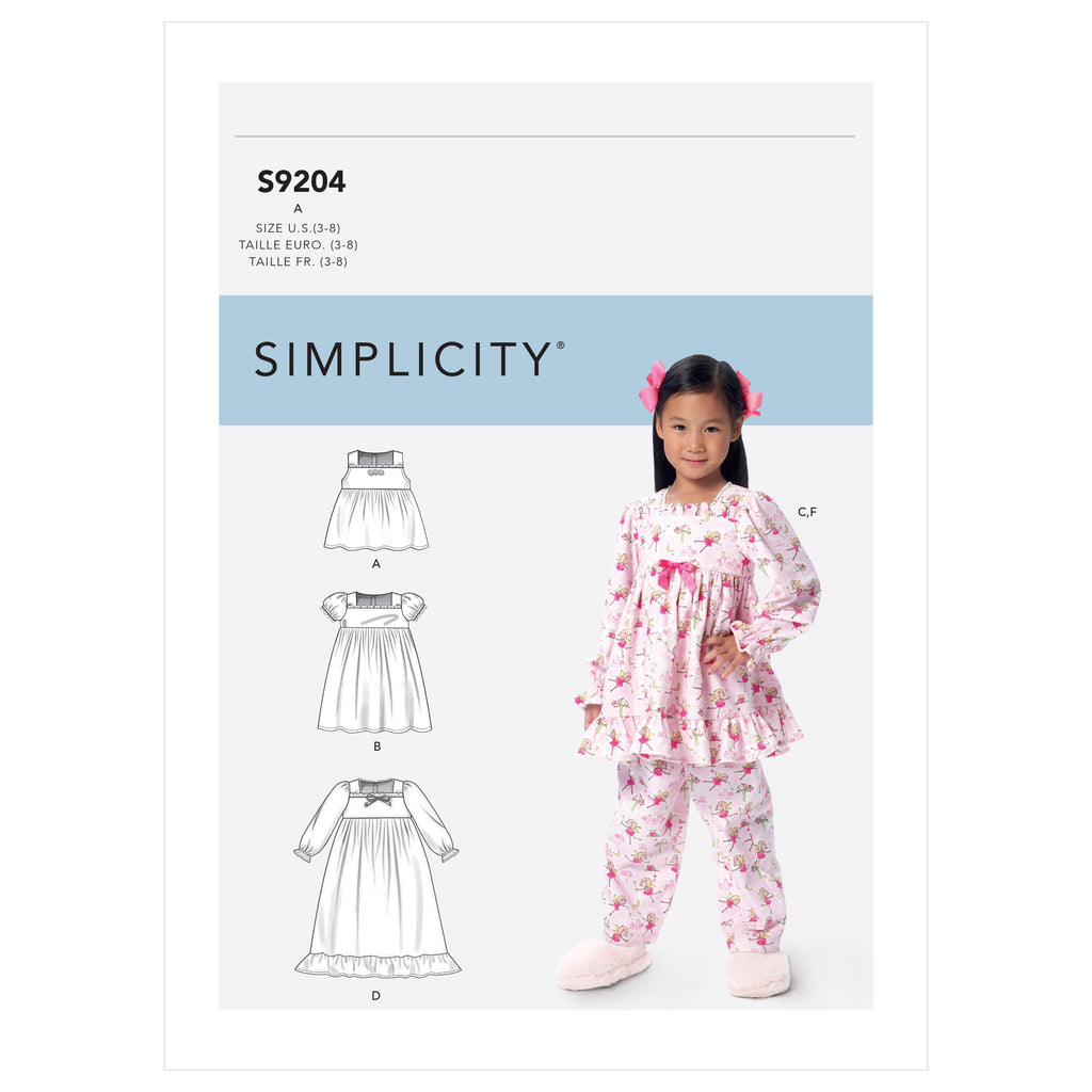 Simplicity Sewing Pattern 9204 Girls' Gathered Tops, Dresses, Gown and Pants from Jaycotts Sewing Supplies