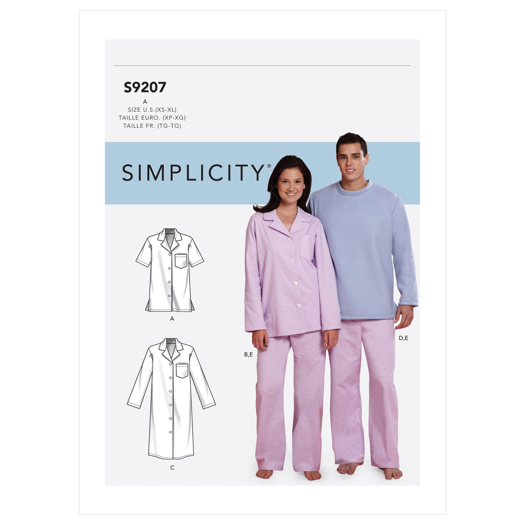Simplicity Sewing Pattern 9207 Misses'/Men's Tops, Nightshirt, Pants from Jaycotts Sewing Supplies