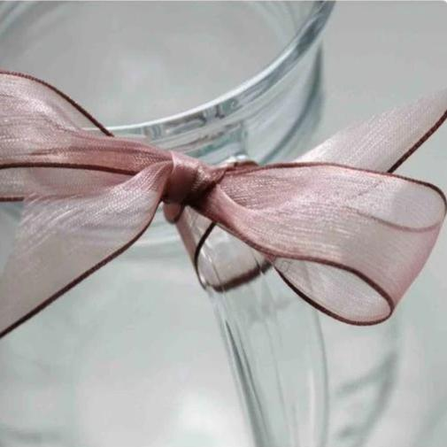 COFFEE Super Fine Organza Ribbon - wired edge