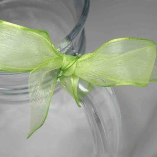 GREEN Super Fine Organza Ribbon - wired edge