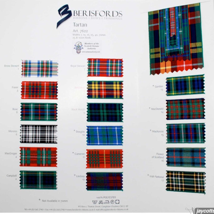 Berisfords Tartan Ribbon: Sample Card