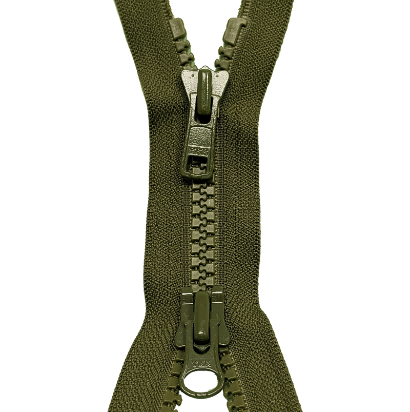 Open End Zip - TWO WAY Plastic KHAKI