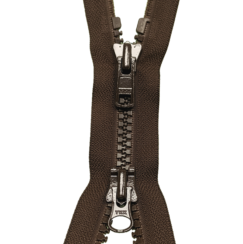TWO WAY open end zip Plastic BROWN