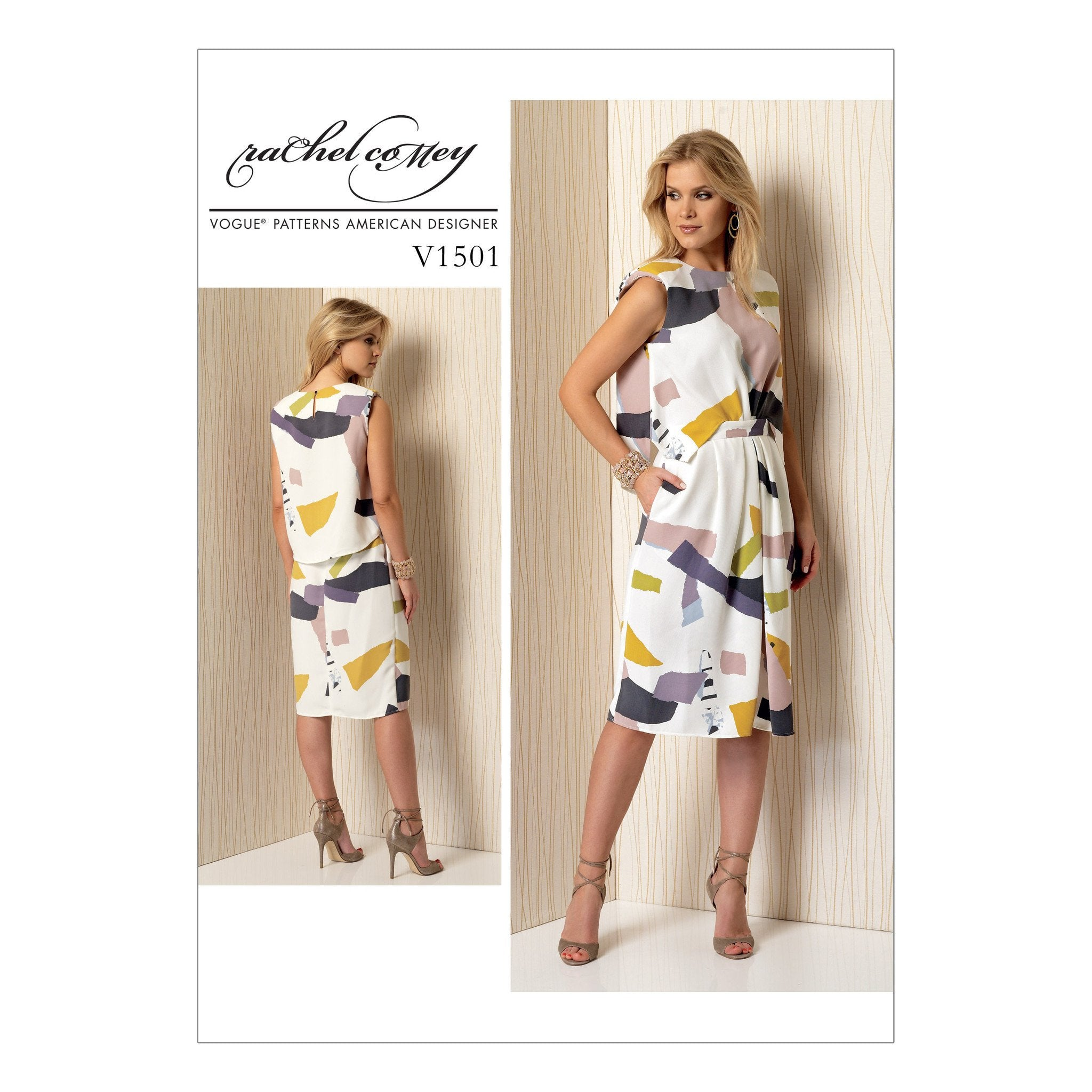 Vogue pattern V1501 Misses' Mock-Tuck Pleated Dress