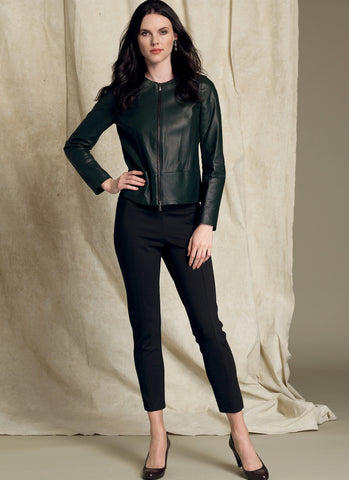 V1517 Collarless Seamed Jacket and Pull-on Pant