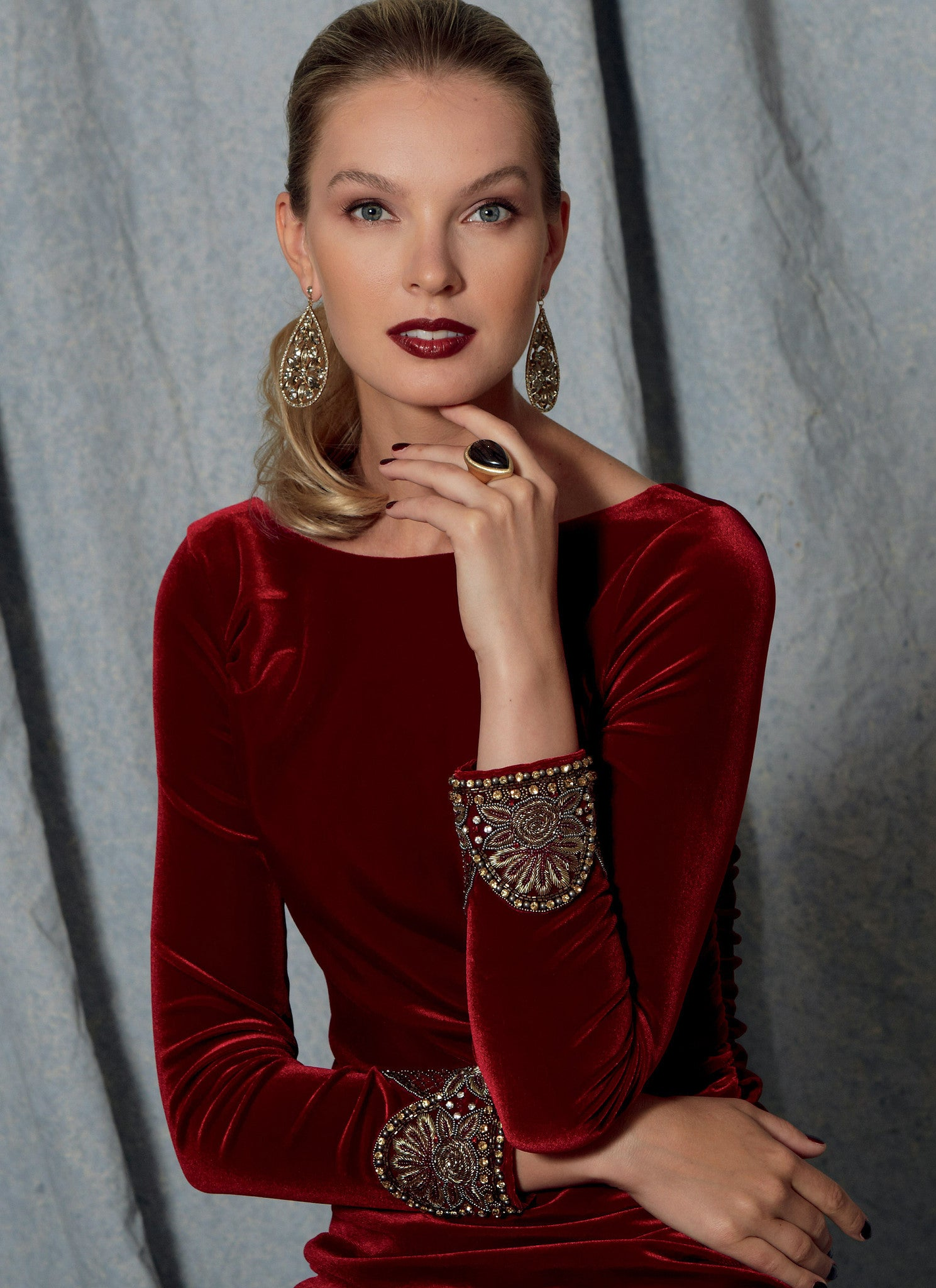 V1520 Misses' Side-Gathered, Long Sleeve Dress, Beaded Cuffs