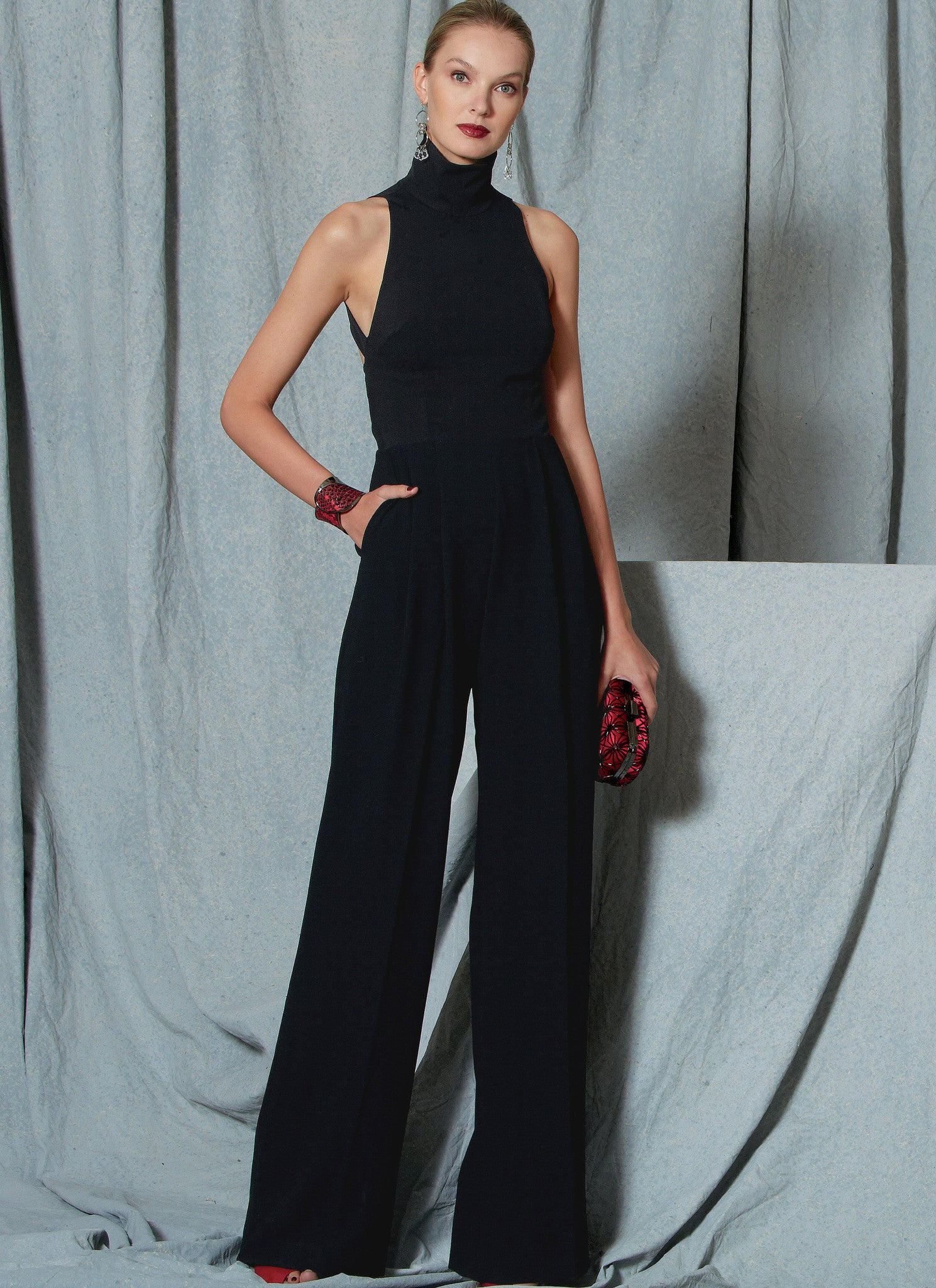 V1524 Misses' Open-Back, Belted Jumpsuit