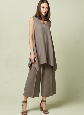 V1550 Misses' Pullover Tunic and trousers