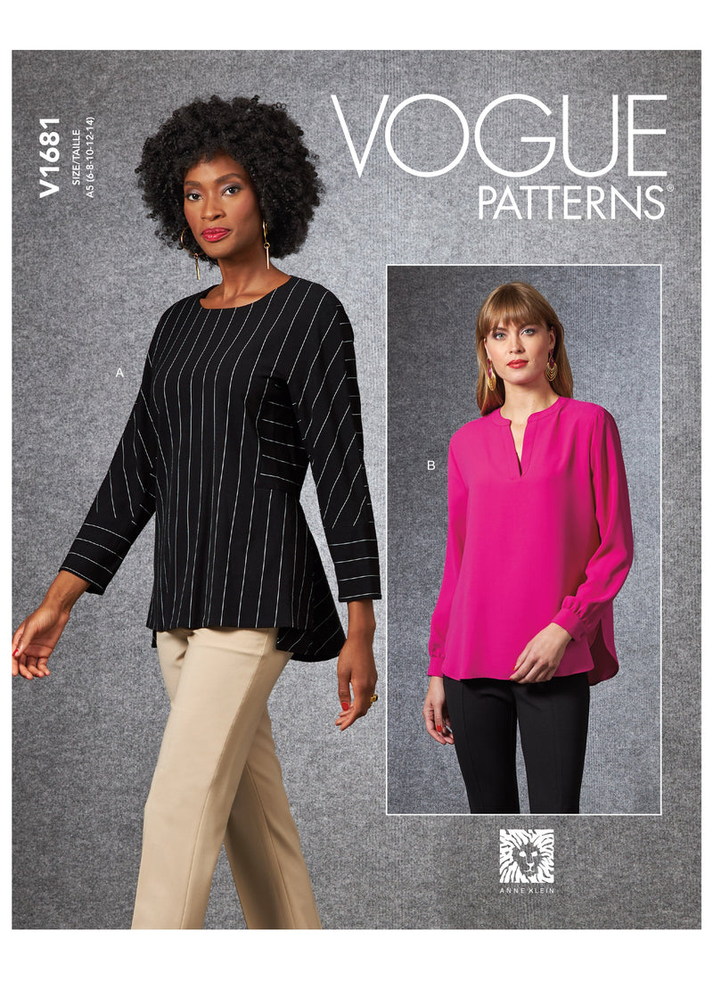 Vogue sewing pattern 1681 Anne Klein Misses' Top