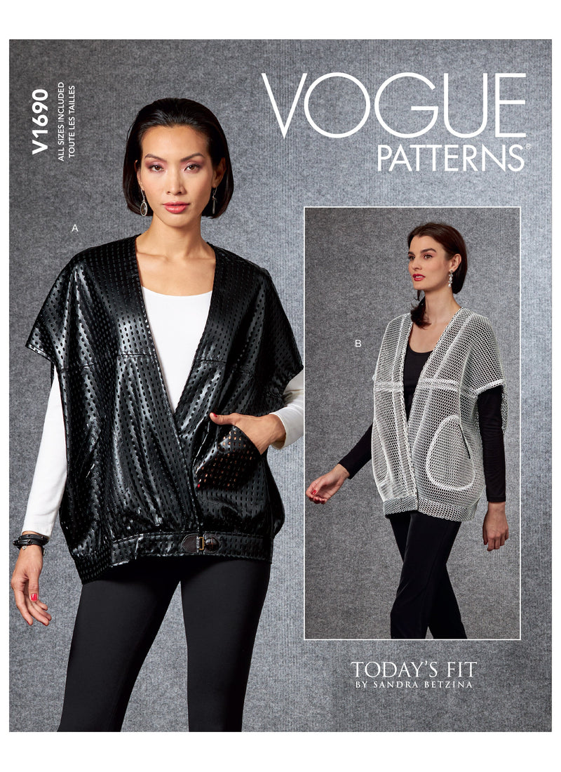 Vogue sewing pattern 1690 Sandra Betzina Misses' Waistcoat from Jaycotts Sewing Supplies