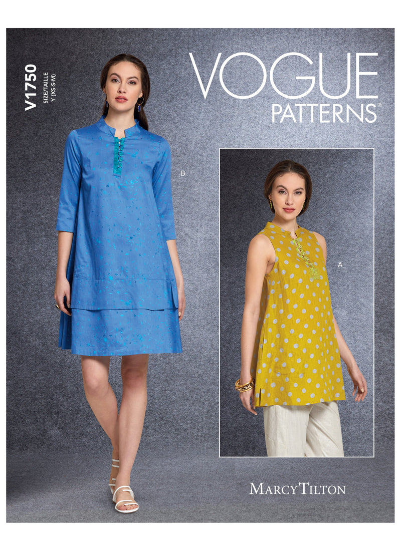 Vogue sewing pattern 1750 Tunic and Dress | Marcy Tilton from Jaycotts Sewing Supplies