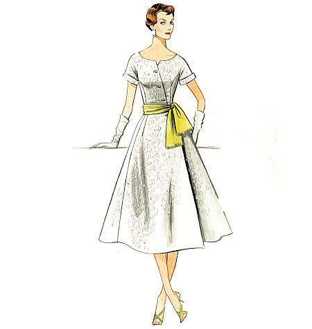 V9105 Misses' Dress & Sash | Vintage Vogue