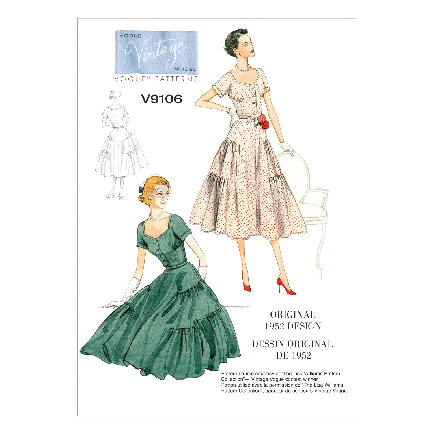 V9106 Misses' Dress and Belt | Vintage Vogue