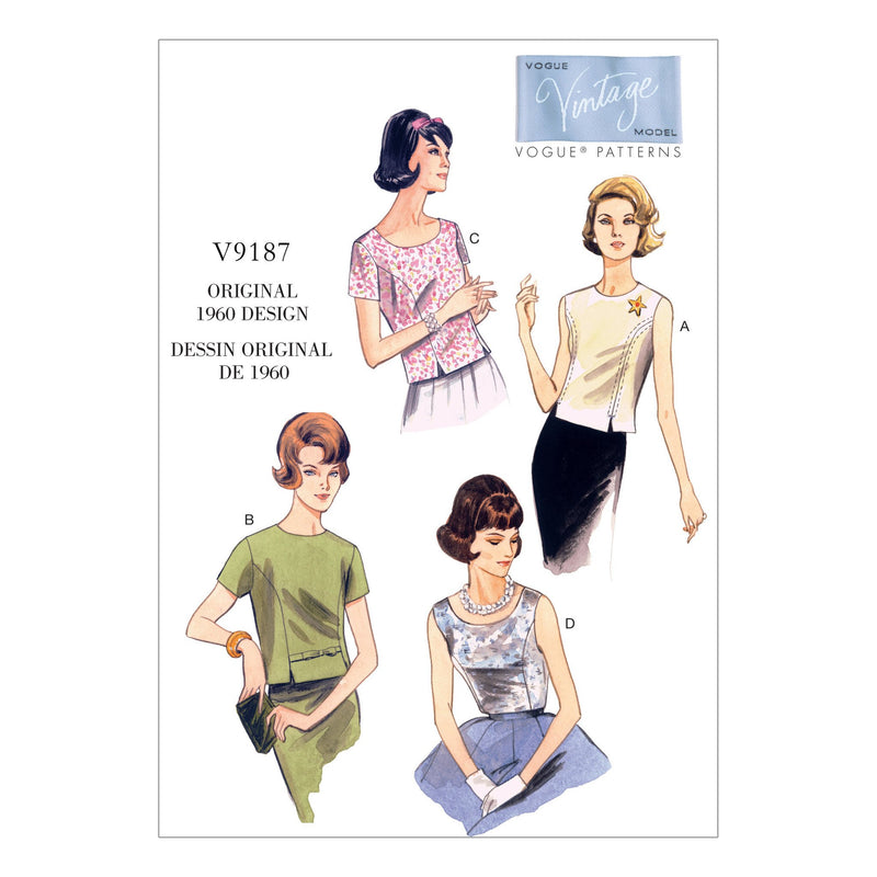 Vogue pattern 9187 Jewel or Scoop-Neck, Princess-Seam Tops