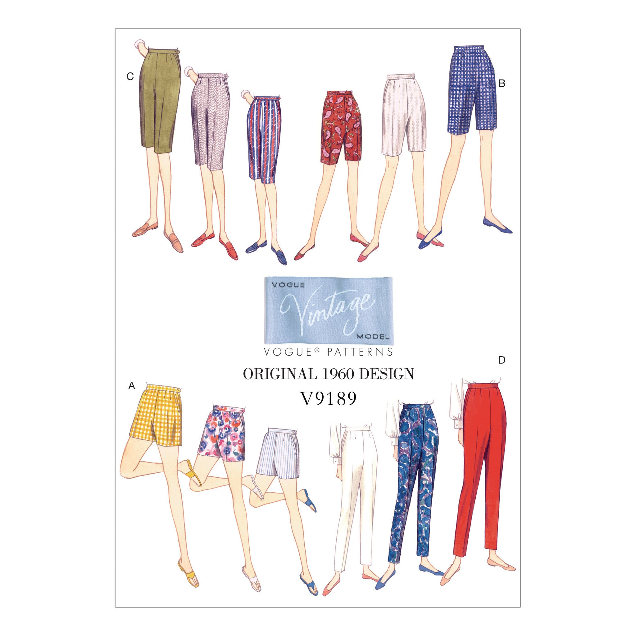 Vogue Pattern V9189 Misses' Shorts and Tapered Pants