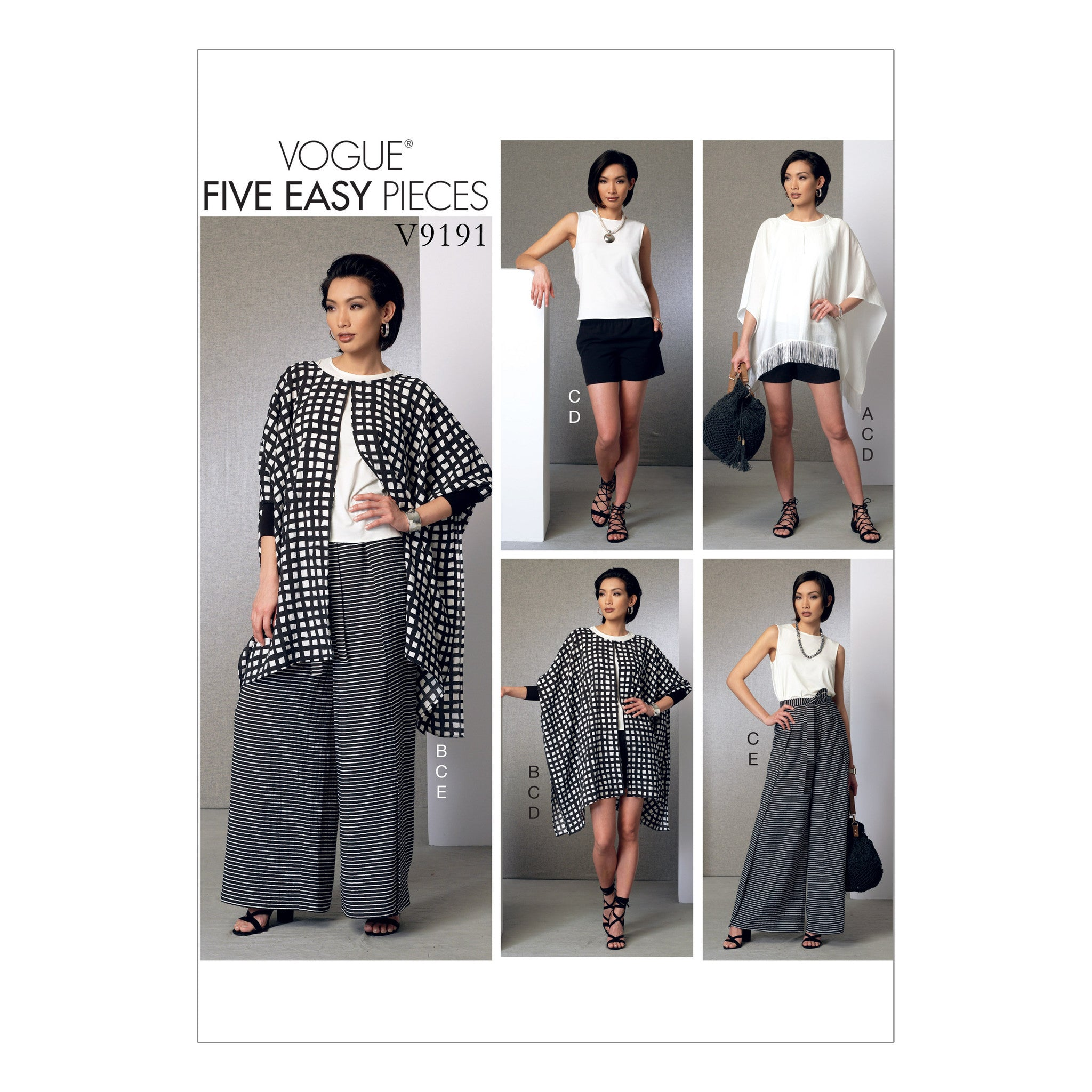 Vogue Pattern V9191 Ponchos, Back-Pleat Top, Shorts & Wrap Pants