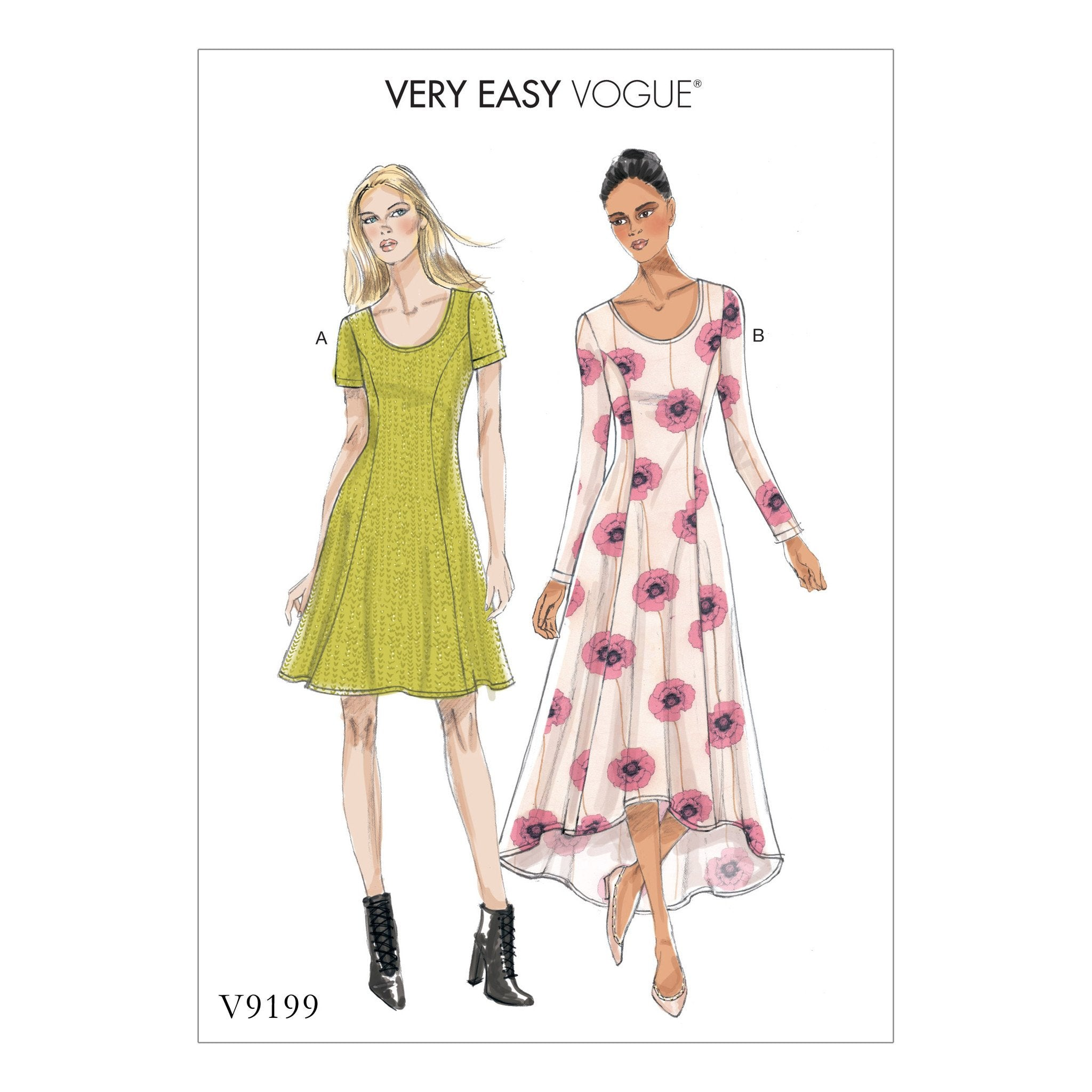 V9199 Knit Fit and Flare Dresses