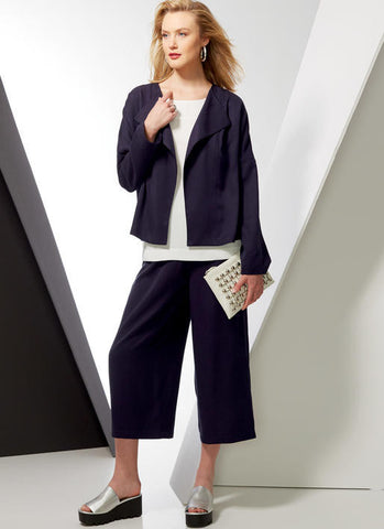 V9246 Misses' Drop-Shoulder Jackets, Belt, Top with Yokes, and Pull-On Pants