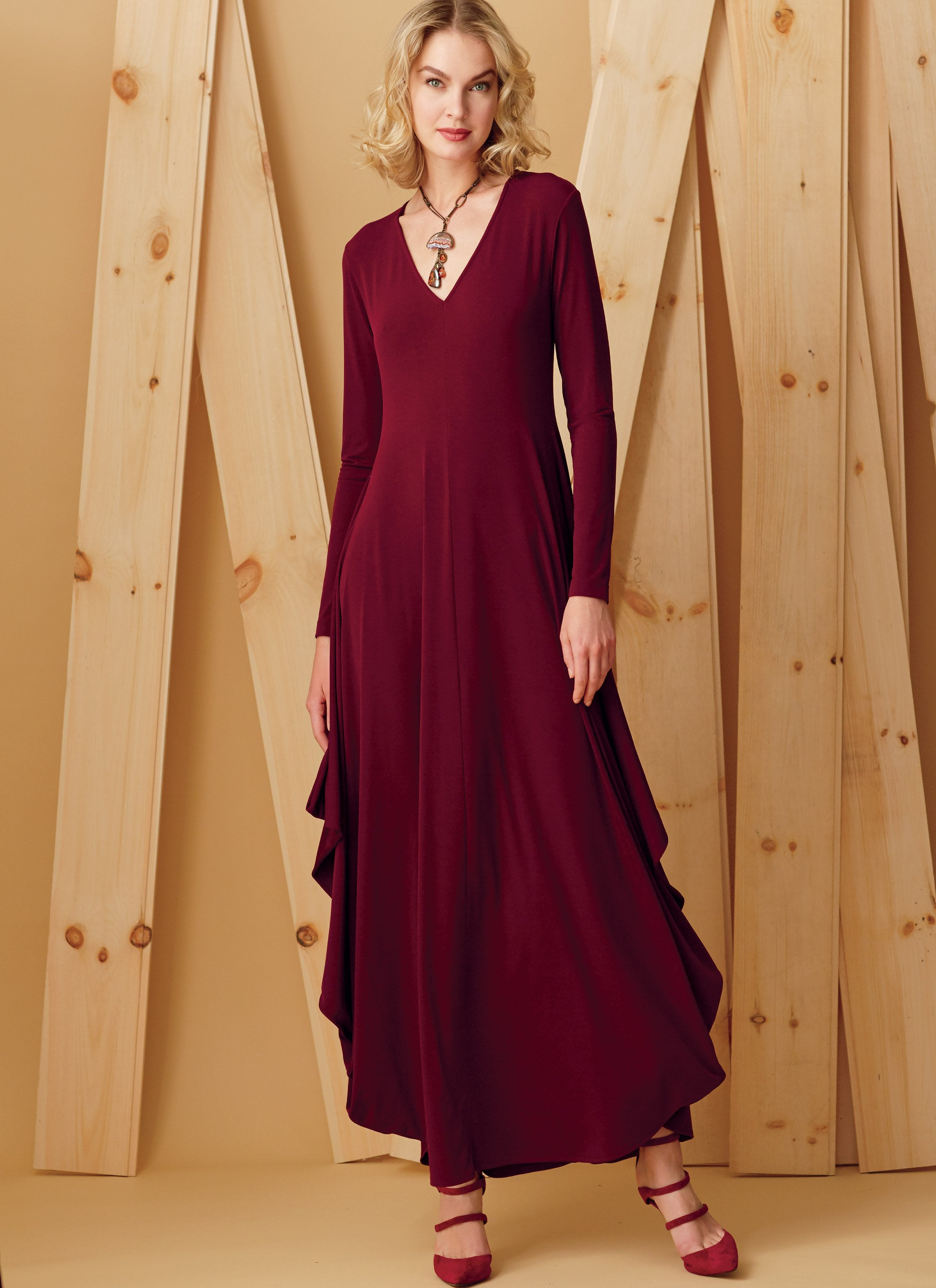 V9268 Misses' Knit, V-Neck, Draped Dresses | Kathryn Brenne