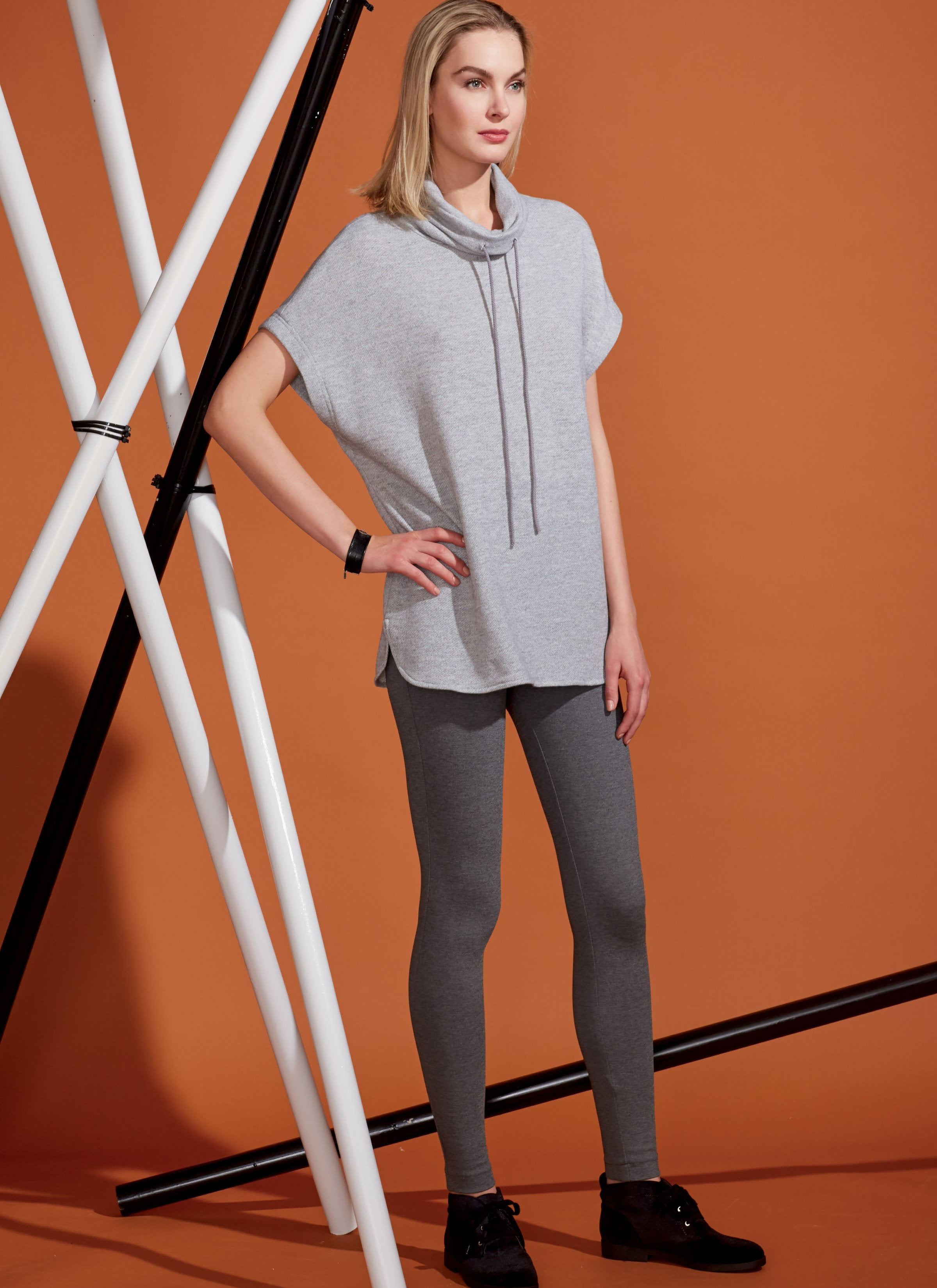 V9275 Misses' Lined Zip Jacket, Knit Tunic, Leggings, and Pants