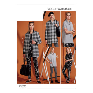Vogue Pattern 9275 Misses' Lined Zip Jacket, Knit Tunic, Leggings, and Pants