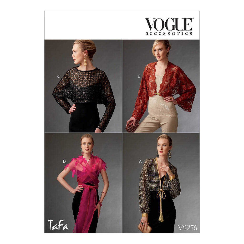 Vogue Pattern 9276 Misses' Reversible Shrugs and Capelet | TaFa