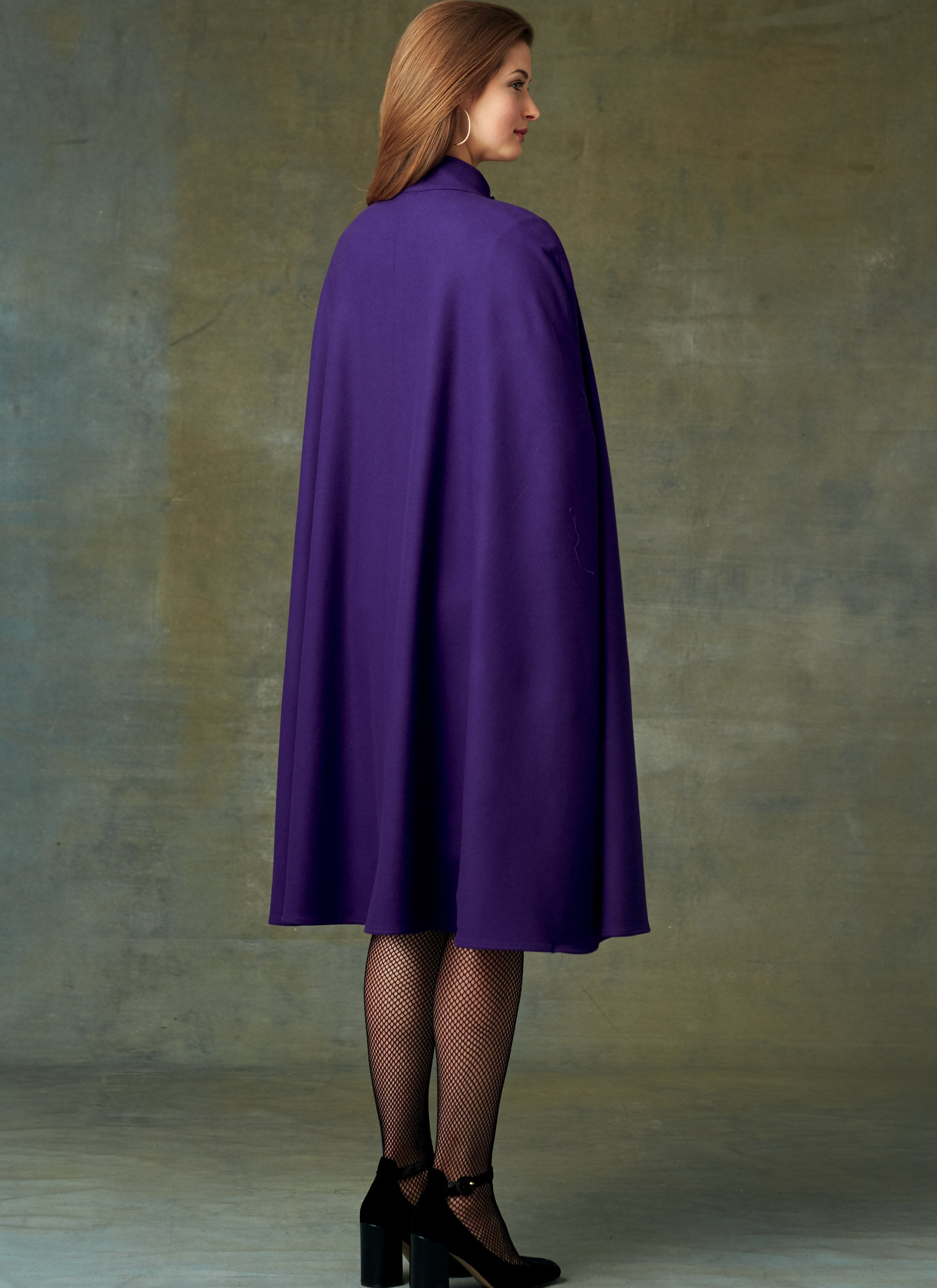 V9288 Cape with Stand Collar, Pockets, and Belt