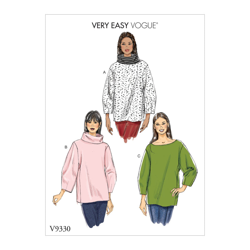 Vogue Pattern 9330 Misses' Top | Very Easy Vogue from Jaycotts Sewing Supplies