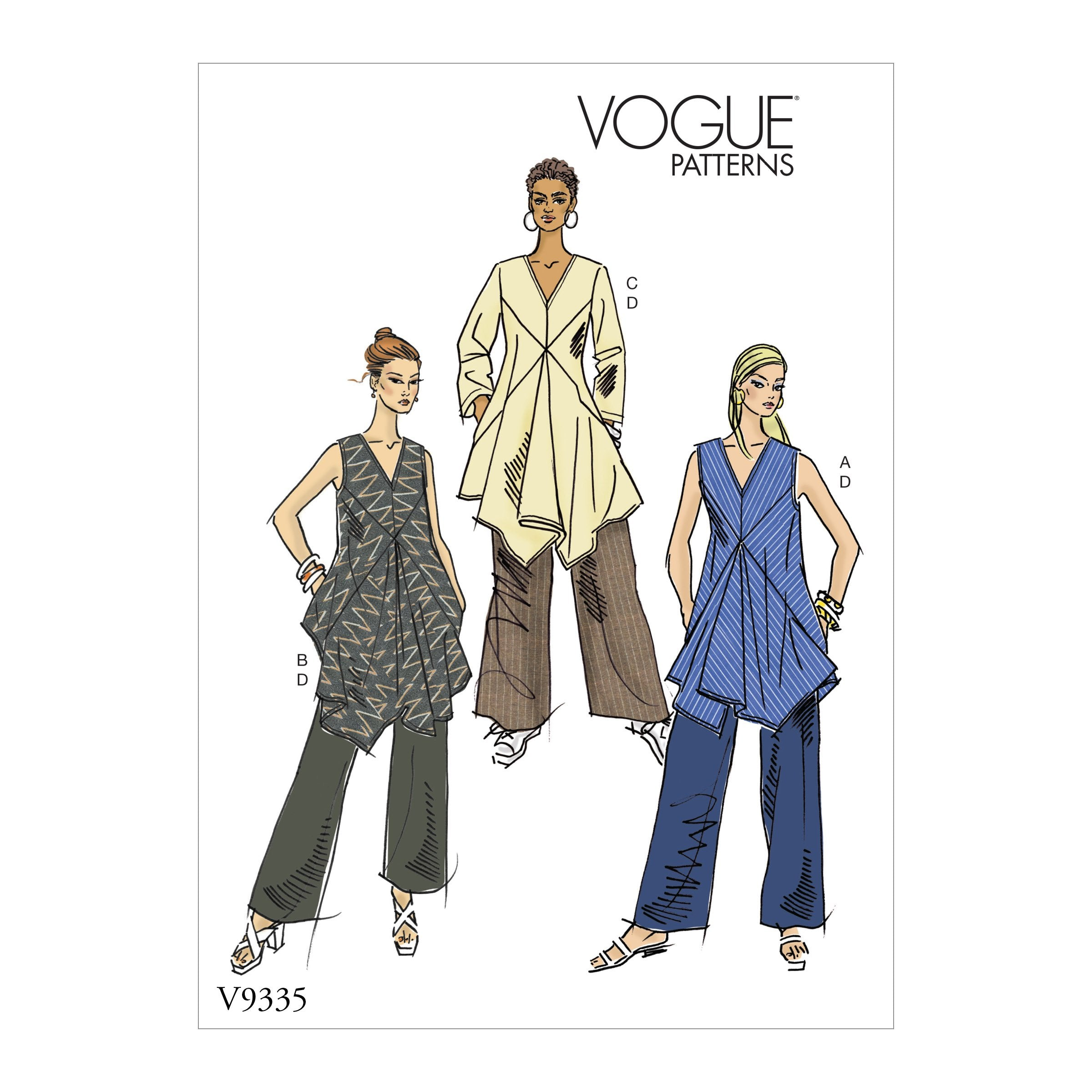 V9335 Misses' Tunic and Pants Pattern