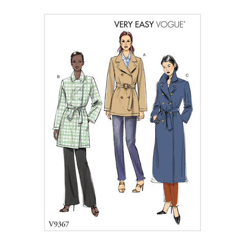 Vogue Pattern V9367 Misses' Coat and Belt