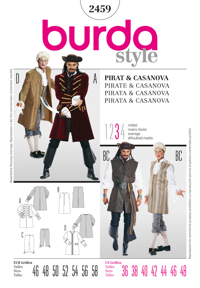 BD2459 Mens' Pirate & Casanova Costume from Jaycotts Sewing Supplies