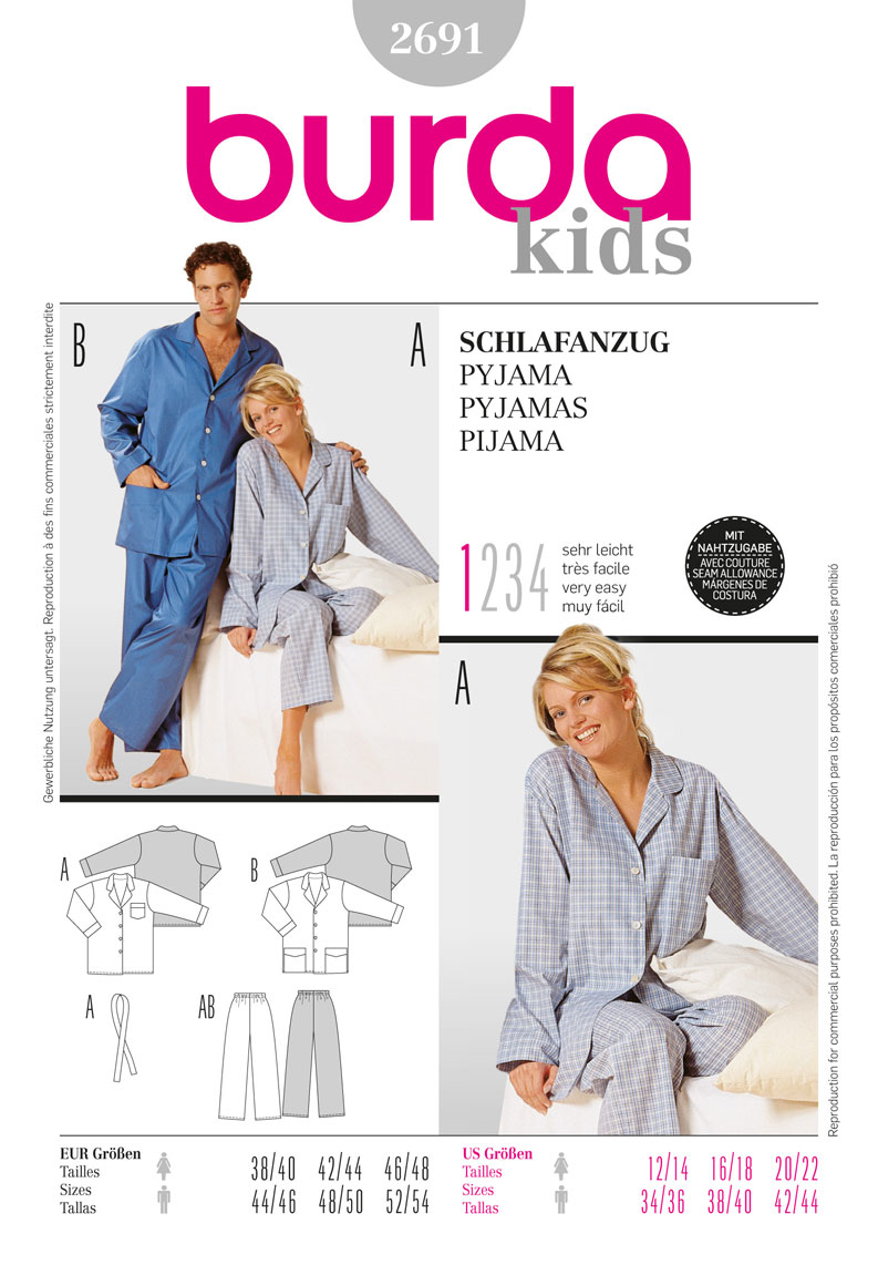 BD2691 sewing pattern Unisex Pyjamas | Very Easy from Jaycotts Sewing Supplies