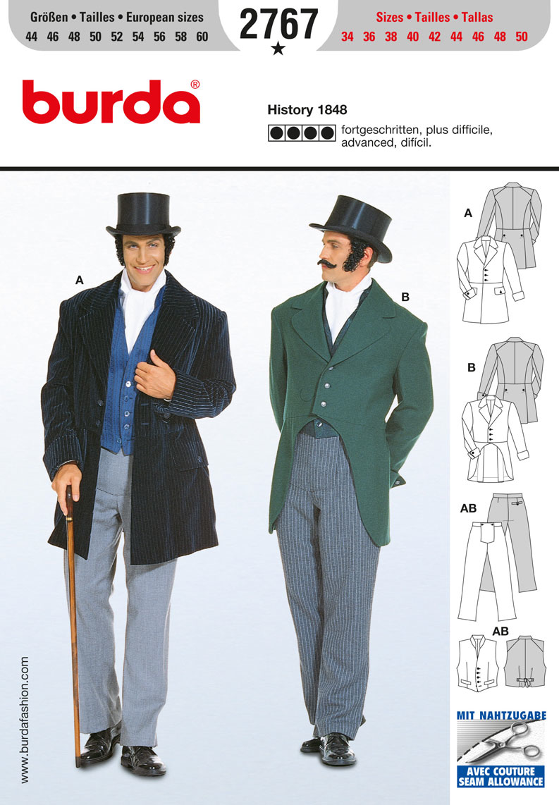 BD2767 Victorian Gentlemen Costume from Jaycotts Sewing Supplies