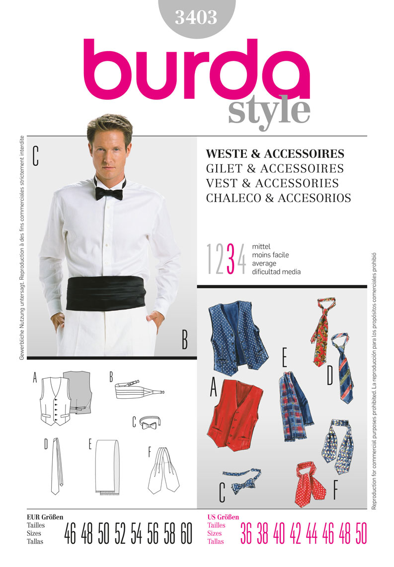 BD3403 Mens' Waistcoat & Accessories from Jaycotts Sewing Supplies