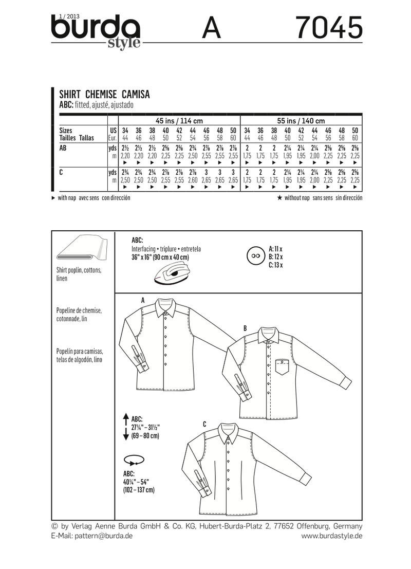 BD7045 Mens' Shirt from Jaycotts Sewing Supplies