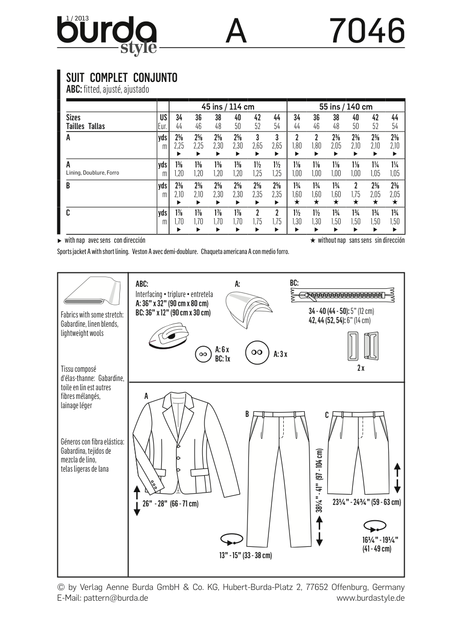 BD7046 Mens' Suit from Jaycotts Sewing Supplies