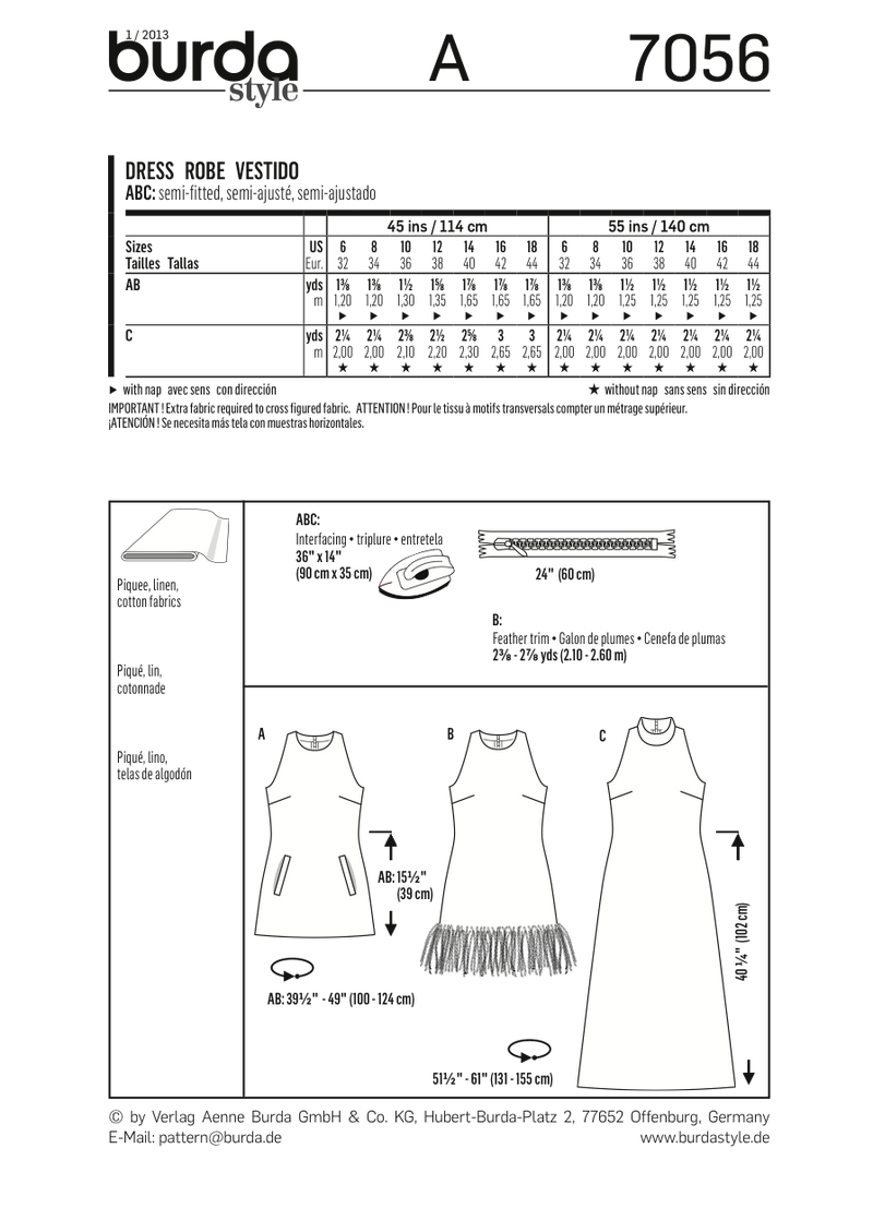 BD7056 Misses' Dress | Easy from Jaycotts Sewing Supplies