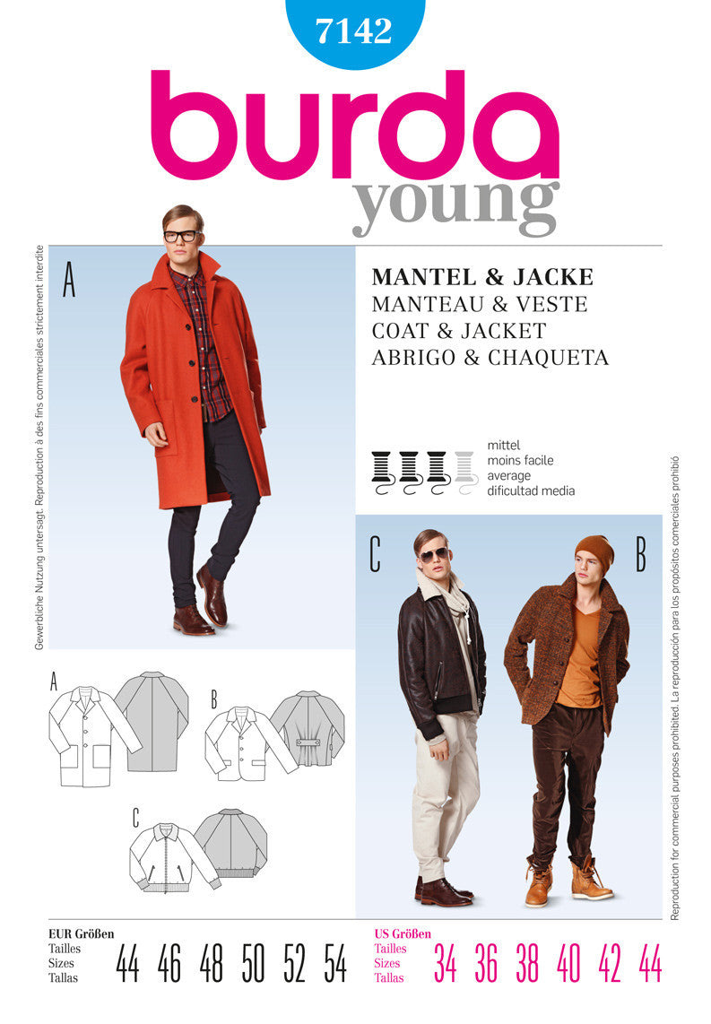 BD7142 Mens' Coat and Jacket Pattern from Jaycotts Sewing Supplies